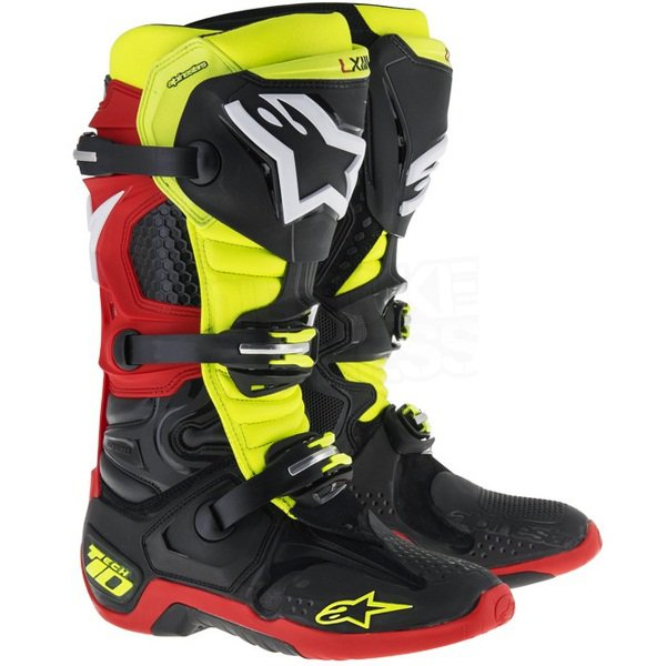 Мотоботы Alpinestars Tech 10 Black Yell Flu Red