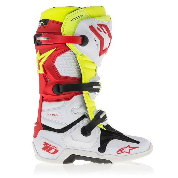 Мотоботы Alpinestars Tech 10 White Red Yellow Fluo Vented 44,5