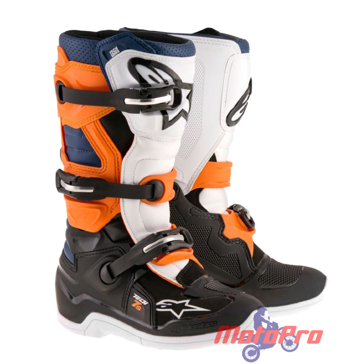 Мотоботы Alpinestars Tech 7S Youth Boot Black Orange White Blue